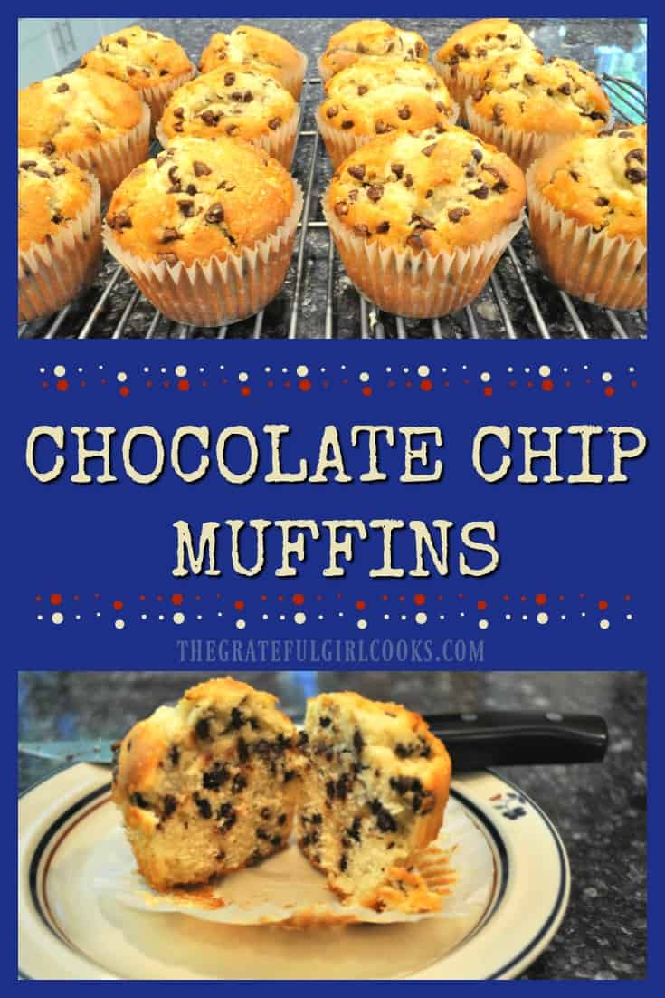 Chocolate Chip Muffins / The Grateful Girl Cooks! Chocolate Chip Muffins will be a family favorite for breakfast or a light snack! Guess what? They're easy to make!