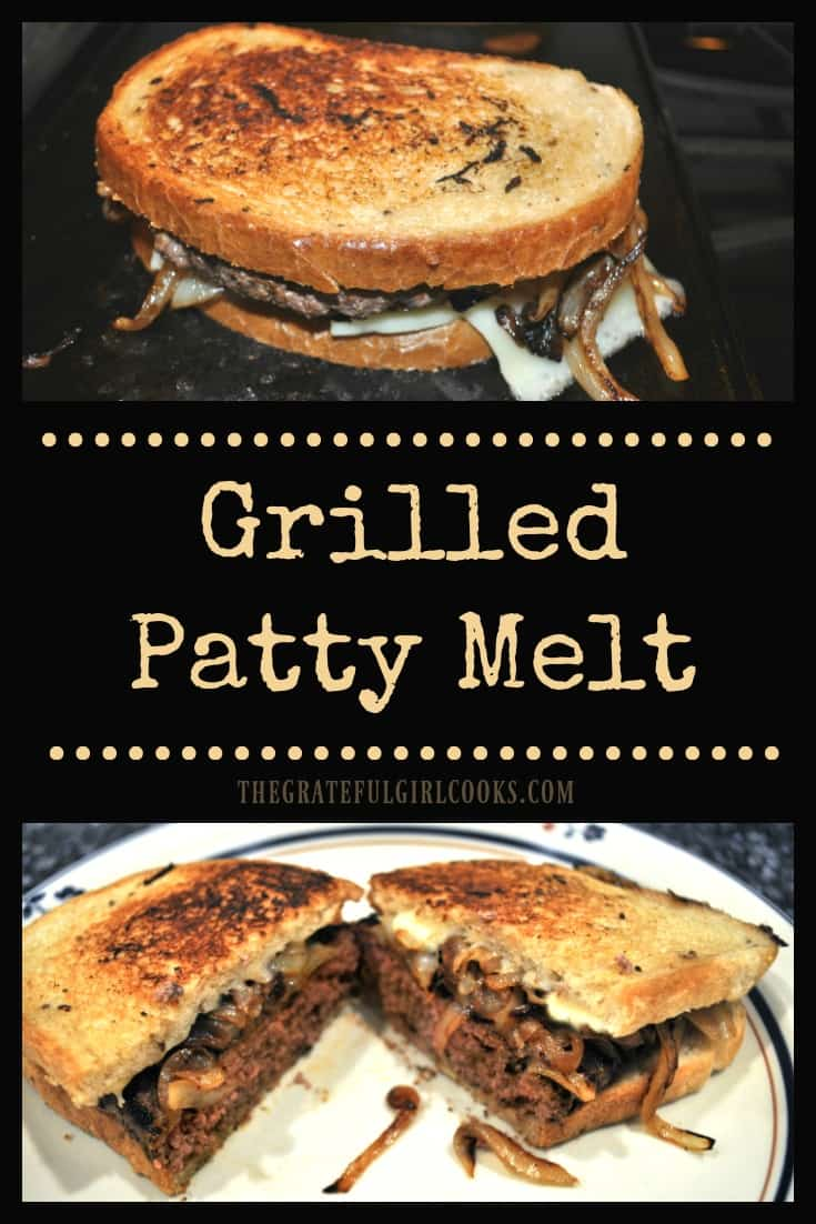 Grilled Patty Melt / The Grateful Girl Cooks! Make classic grilled patty melts from the comfort of home! Seasoned beef, rye bread, caramelized onions, and gooey cheese create a delicious grilled sandwich!