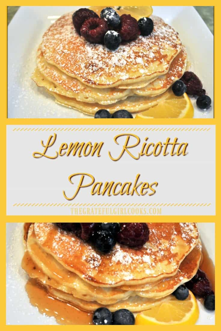 Lemon Ricotta Pancakes / The Grateful Girl Cooks! Lemon Ricotta Pancakes are easily made from scratch, light and fluffy, and infused with lemon flavor, for an absolutely delicious breakfast you'll remember!