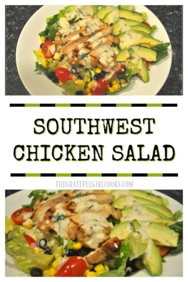 You'll love this Southwest-inspired salad with marinated chicken, beans, corn, tomatoes, avocados, and lettuce, topped w/ a creamy lime cilantro dressing!