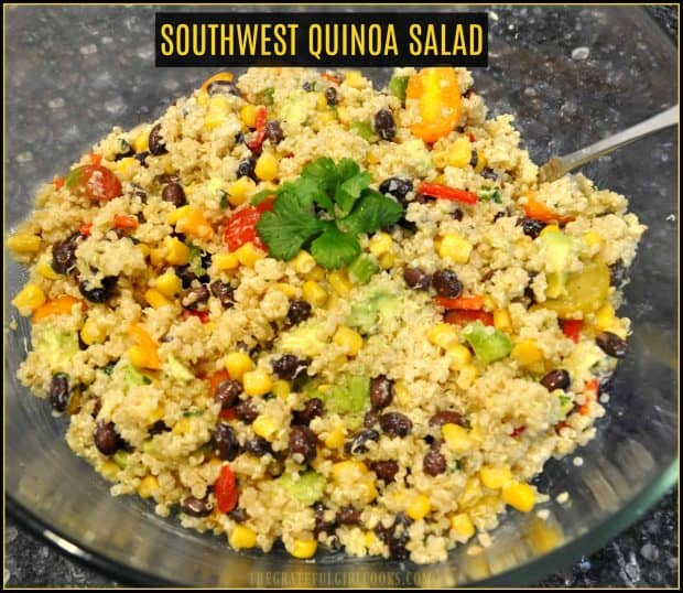 You'll love this healthy side or vegetarian dish featuring quinoa, tomatoes, corn, beans, peppers and avocado, topped with a flavorful cilantro lime dressing!