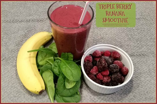 Triple Berry Banana Smoothie / The Grateful Girl Cooks! A delicious fruit smoothie featuring raspberries, blueberries, blackberries, banana, spinach, orange juice, and Greek yogurt! A perfect quick meal on the go!