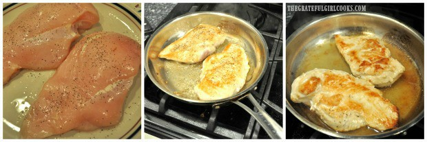 3 picture collage of raw chicken, then cooking and browning in skillet