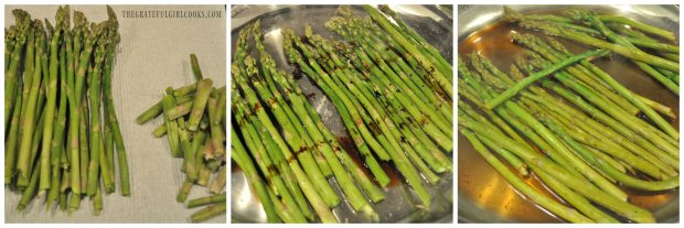 3 picture collage of asparagus, raw, and with sauce, cooking in skillet