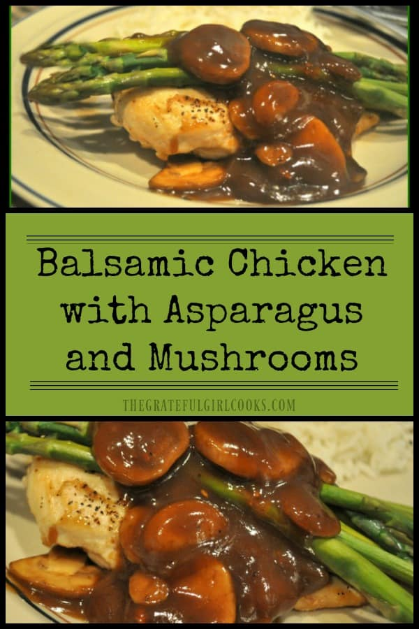 Long pin for balsamic chicken with asparagus and mushrooms
