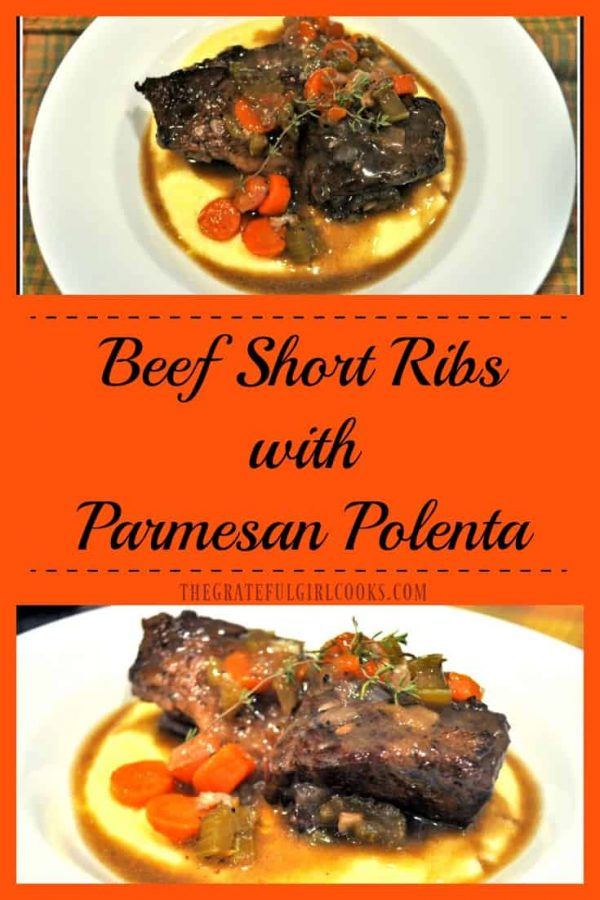 Long pin for Beef Short Ribs with Parmesan Polenta