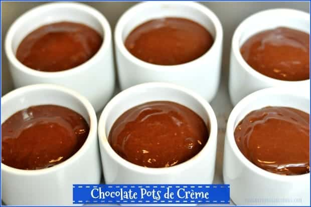 Looking for a quick and easy decadent dessert you can make in under 10 minutes? You'll love these tiny Chocolate Pots de Crème with deep, rich chocolate flavor!