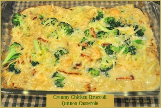 You'll love this family friendly creamy chicken broccoli quinoa casserole, with chicken, broccoli and quinoa in a creamy, cheesy sauce for dinner! Serves 6.