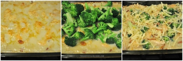 Broccoli and cheese added to dish