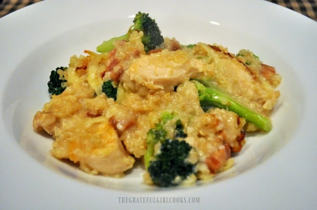 Baked chicken broccoli with quinoa casserole in white bowl