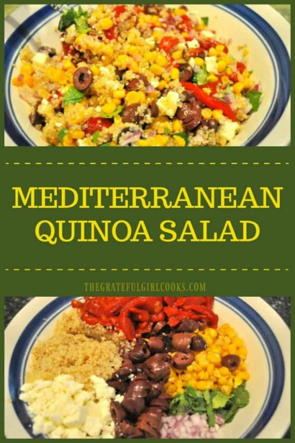 You'll enjoy Mediterranean Quinoa Salad, with traditional Greek flavors of kalamata olives, feta cheese, roasted red peppers, and a simple dressing!