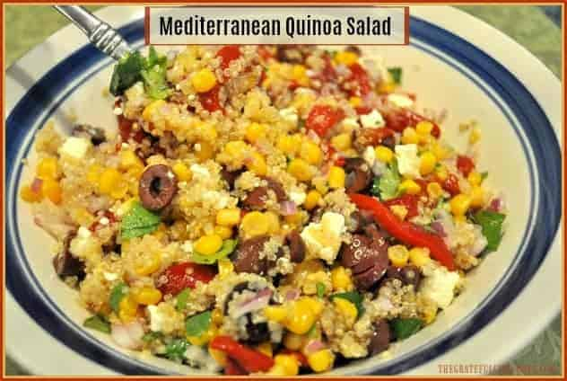 Mediterranean Quinoa Salad / The Grateful Girl Cooks! You'll enjoy this Mediterranean Quinoa Salad, with traditional Greek flavors of kalamata olives, feta cheese, roasted red peppers, and a simple dressing!
