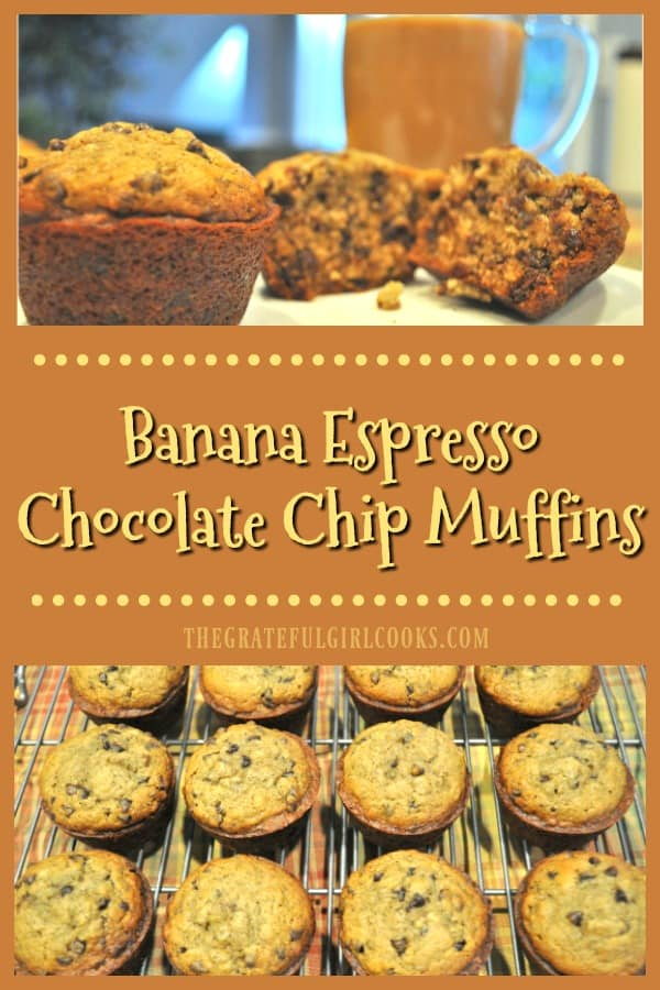 You'll LOVE these delicious Banana Espresso Chocolate Chip Muffins! EASY to make, flavorful treat for a family friendly breakfast, brunch, or snack!