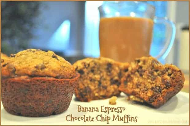 Banana Espresso Chocolate Chip Muffins / The Grateful Girl Cooks!