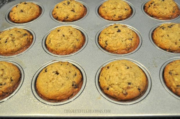 Banana muffins baked and golden brown in muffin tin