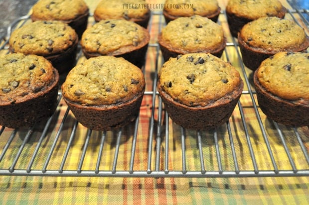 Banana chocolate chip muffins cooling on wire rack