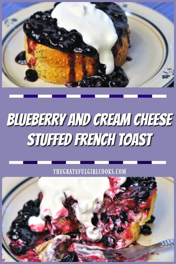 Long pin for blueberry and cream cheese stuffed french toast