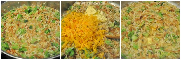 Pilaf with broccoli, cheese and butter in skillet