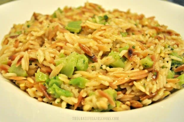 Broccoli and rice pilaf in close up photo