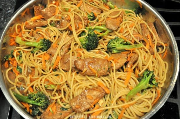 Pork, hoisin sauce, noodles and broccoli mixed in skillet