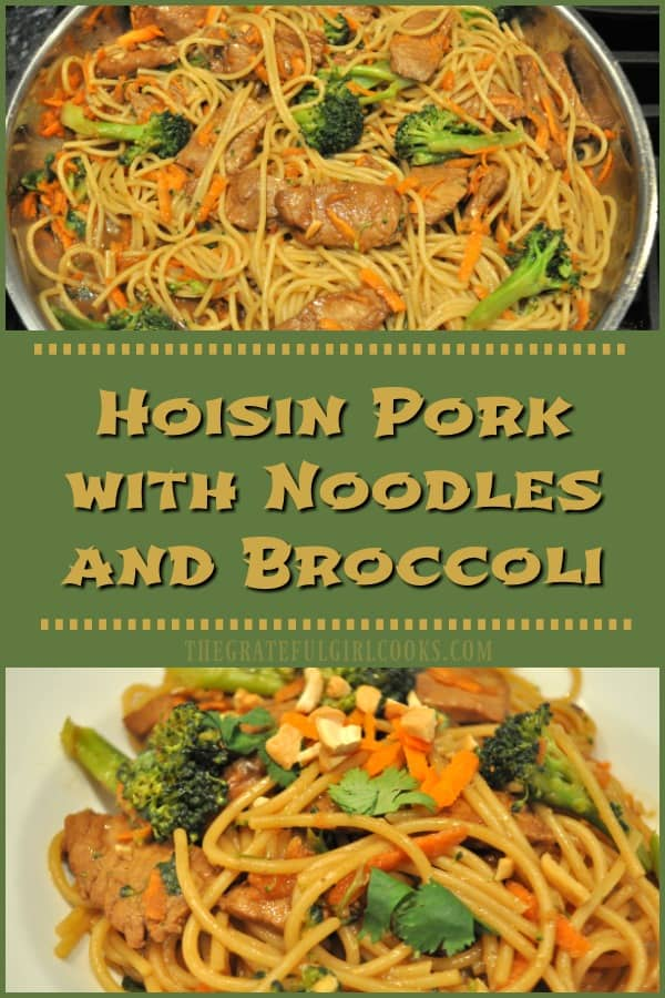 You'll LOVE Hoisin Pork with Noodles and Broccoli, featuring marinated pork with noodles, broccoli and carrots cooked in an Asian inspired sauce!