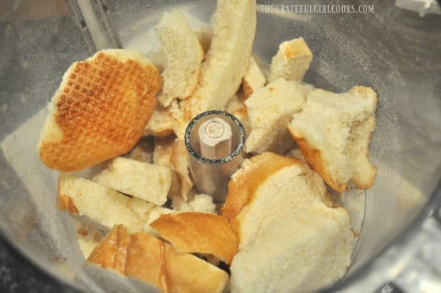 Hard, stale bread is placed into food processor to make crumbs