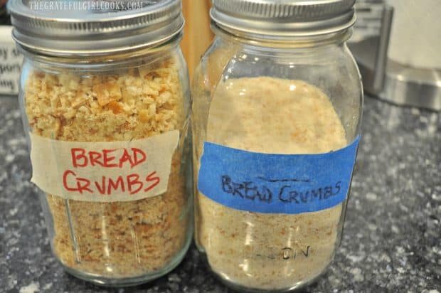 2 canning jars, full of homemade bread crumbs