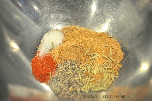 Bowl of cajun spice ingredients for cooked tater tots