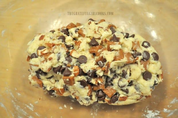 Scone dough is filled with chocolate, pecans and caramel pieces