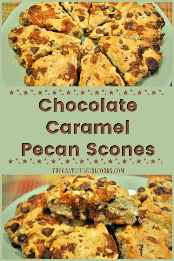 Long pin for chocolate caramel pecan scones recipe