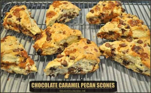 Grab some coffee or tea and enjoy these absolutely delicious scones, filled with milk chocolate chips, caramel and pecans, for breakfast or a simple snack.