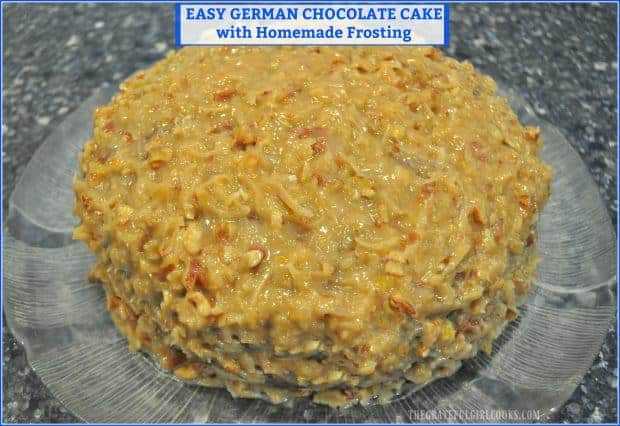 It's EASY to make a delicious German Chocolate Cake for dessert, thanks to a shortcut using a box mix and topping it with yummy HOMEMADE coconut pecan frosting!