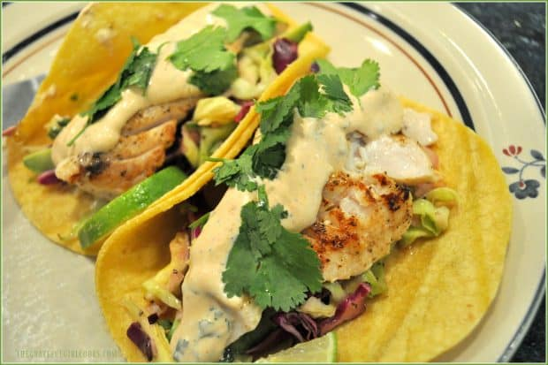 Grilled fish in tortilla with Baja sauce, slaw and cilantro, on plate