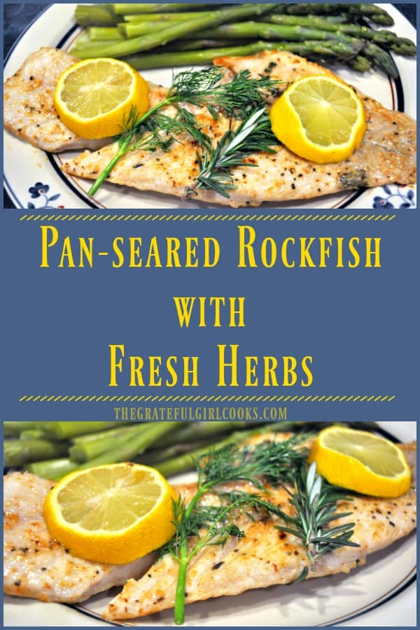 Long pin for pan-seared rockfish with fresh herbs