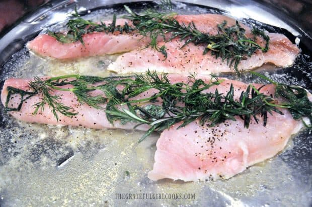 Pan-searing fish with fresh herbs in skillet
