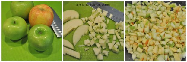 Apples diced into small pieces for muffins