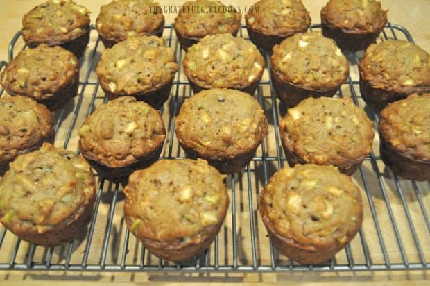 Eighteen baked apple raisin muffins on wire rack
