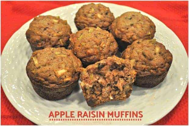 These moist and delicious apple muffins, packed with raisins, cinnamon and pecans, are an easy to make treat for breakfast or brunch!