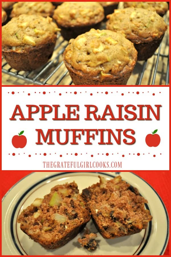 These moist and delicious apple raisin muffins, full of fresh apples, raisins, cinnamon and pecans, are an easy to make treat for breakfast or brunch!