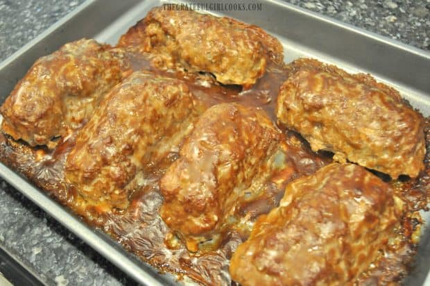 Stuffed beef rolls with gravy, hot out of oven