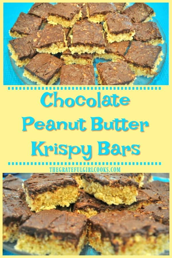 The traditional snack or dessert treat of families everywhere gets an update in this delicious recipe for Chocolate Peanut Butter Krispy Bars!