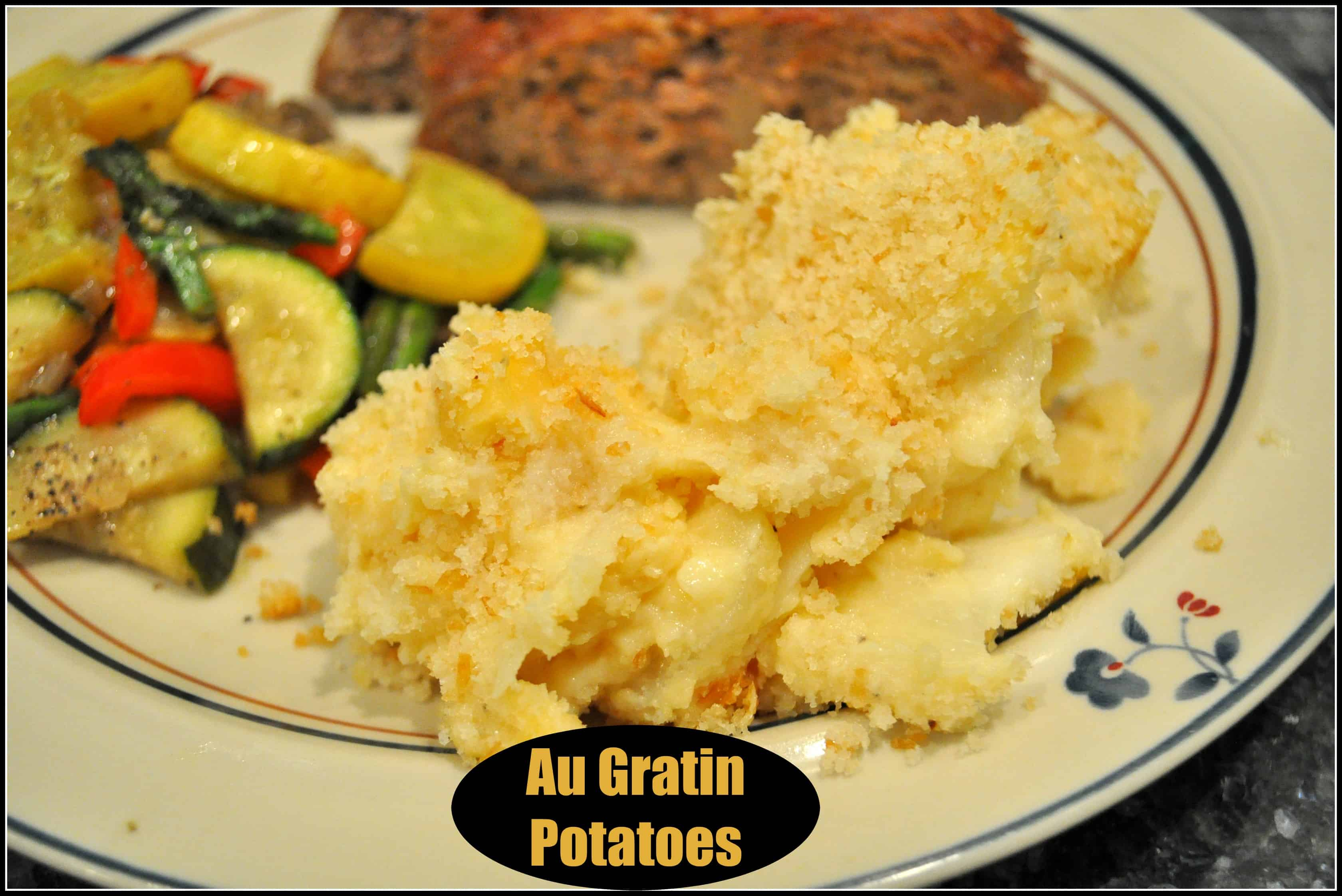 Au Gratin Potatoes are a comforting classic side dish, with thinly sliced potatoes covered in a homemade cheese sauce, then baked until golden brown and bubbly!
