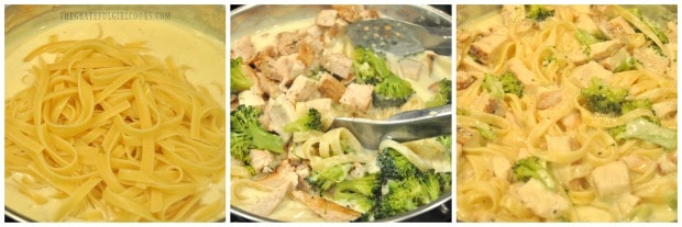 Fettucine noodles, chicken and broccoli are added to alfredo sauce