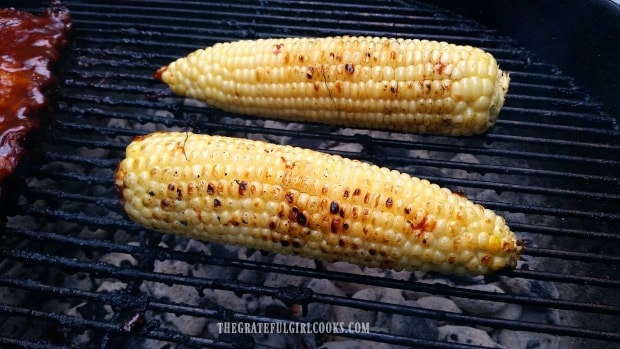 Grilled corn on the cob is almost done!