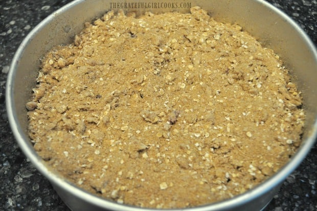 Streusel topping is sprinkled all over the top of the coffeecake.
