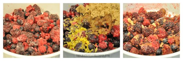Blackberries, blueberries and raspberries are mixed with brown sugar, etc. for cobbler