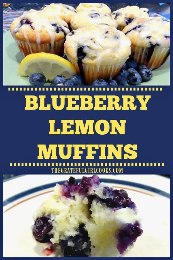 Blueberry Lemon Muffins are absolutely light and DELICIOUS, easy to make, bursting with blueberries and lemon zest, and topped with a lemon glaze you will love!