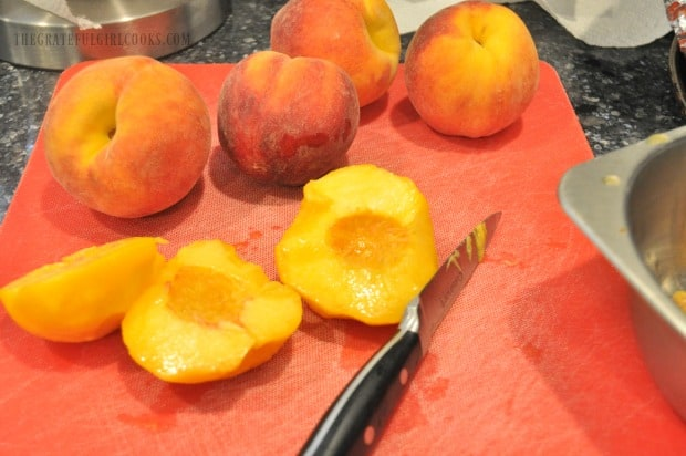 Fresh peaches are peeled, then sliced for perfectly peachy ice cream
