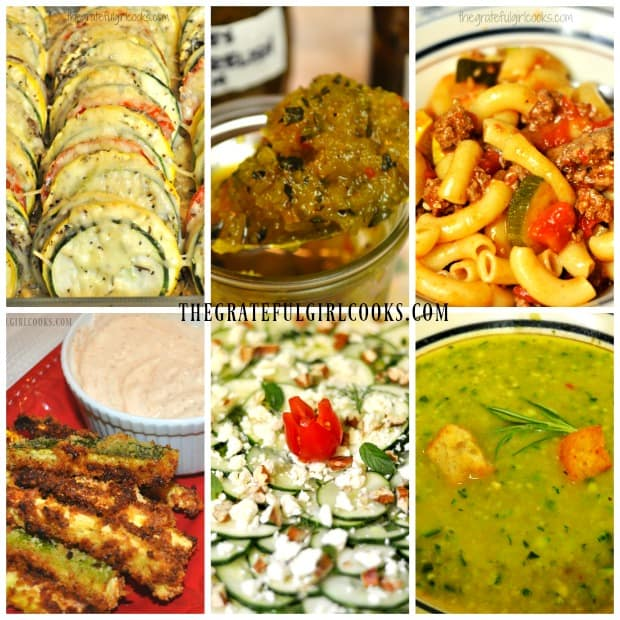 Collage of recipes on blog using summer squash (zucchini).