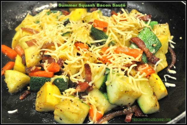 Summer Squash Bacon Sauté is a simple side dish with green and yellow zucchini, crisp bacon, carrot, onions, garlic and cheese, and takes only minutes to make!